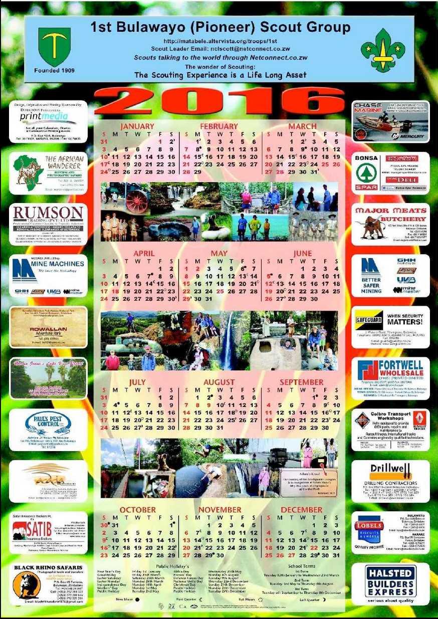 Calendar Zimbabwe : St bulawayo pioneer scout troop calendar zimbabwe